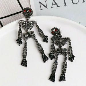 Spooky Rhinestone Embellished Skeleton Earrings